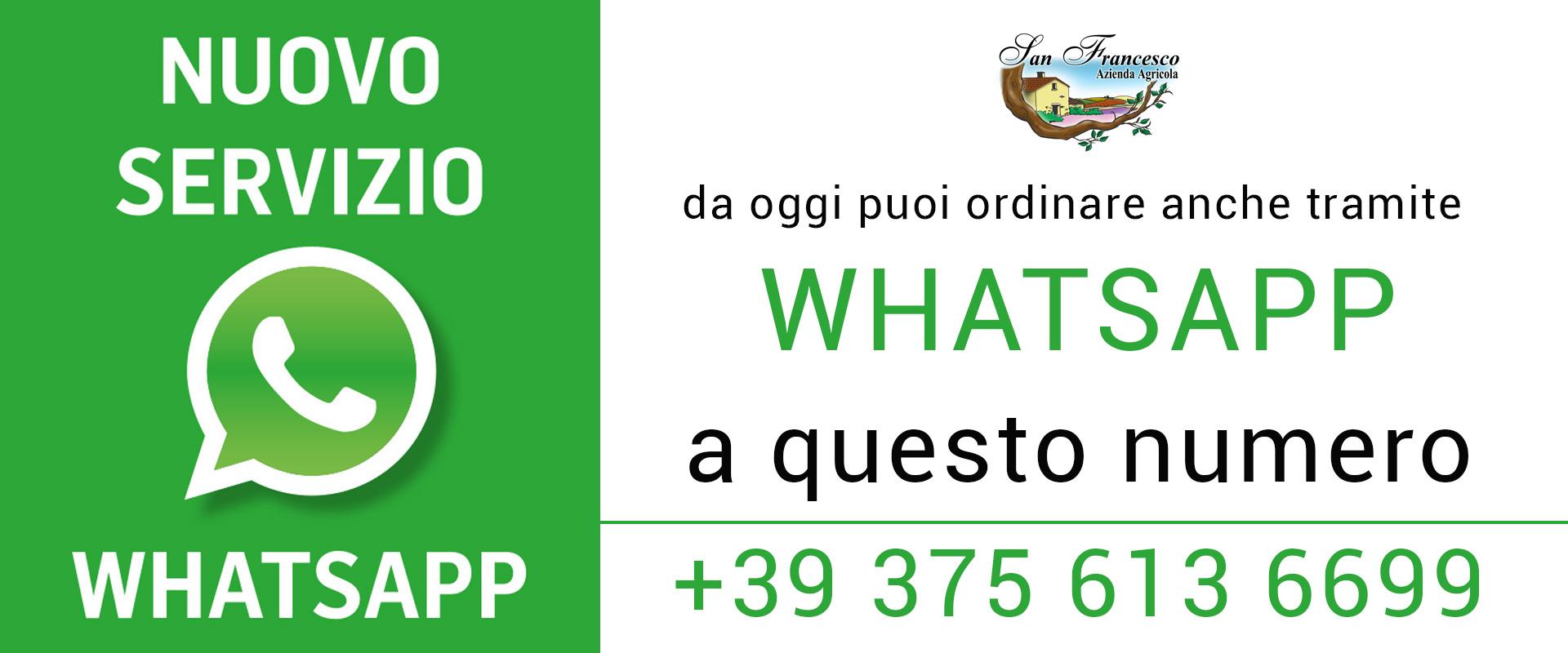 Ordina i tuoi Prodotti BIO con WhatsApp. San Francesco Azienda Agricola