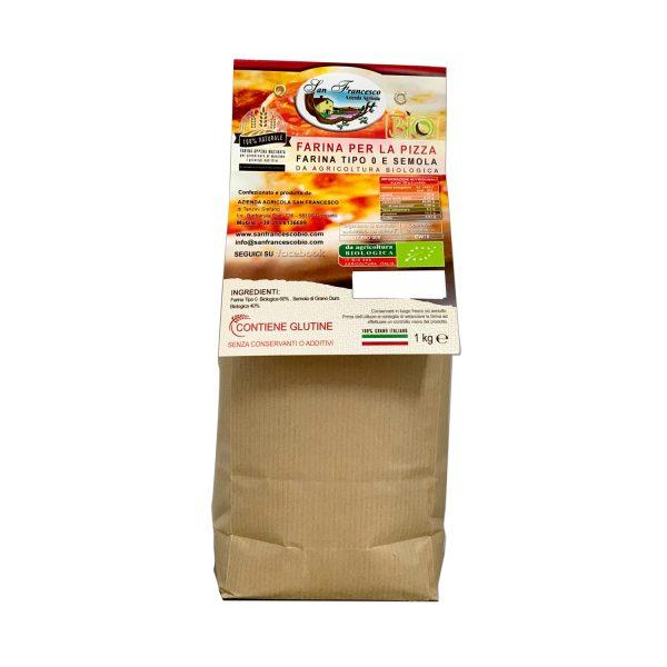 Etichetta retro Farina per la Pizza BIO Farina Tipo 0 e Semola Bio macinata a pietra