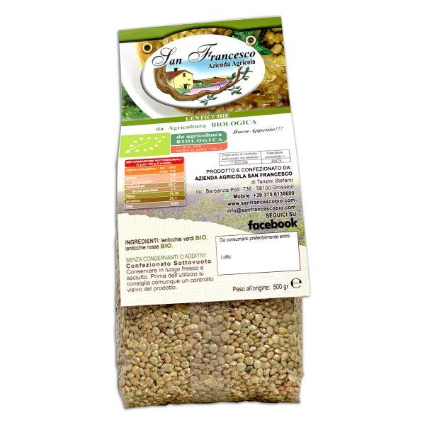 etichetta retro delle Lenticchie verdi bio | Azienda Agricola San Francesco | Negozio Bio online