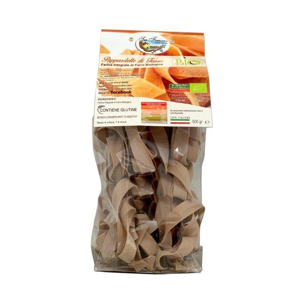 Etichetta retro delle Pappardelle Integrali di Farro Biologico in vendita online nello shop dell'Azienda San Francesco Bio di Maremma Toscana