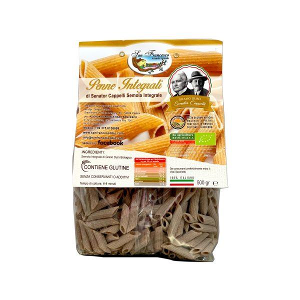Etichetta retro delle Penne Integrali Senator Cappelli, Pasta di Grani Antichi macinati a pietra, trafilati in bronzo, coltivati in azienda