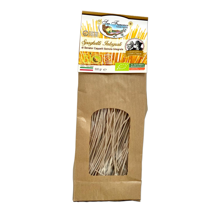 Spaghetti Integrali Senator Cappelli, Pasta di Grani Antichi macinati a pietra, trafilati in bronzo, coltivati in azienda.