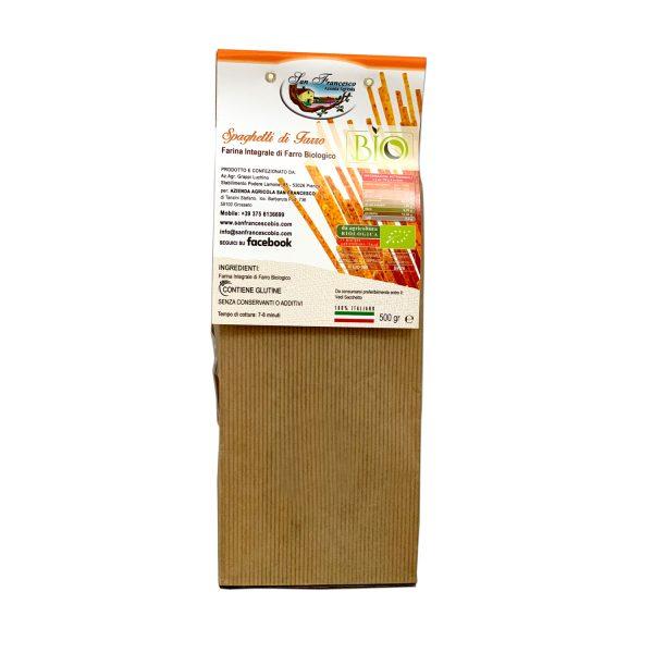 Etichetta retro degli Spaghetti Integrali di Farro Biologico
