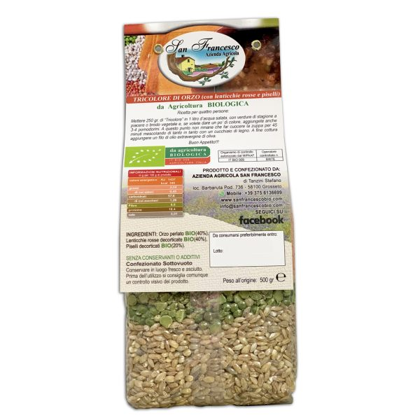 Etichetta retro Tricolore di Orzo BIO Confezione da 500 gr - Agricoltura Biologica Azienda San Francesco di Maremma Toscana