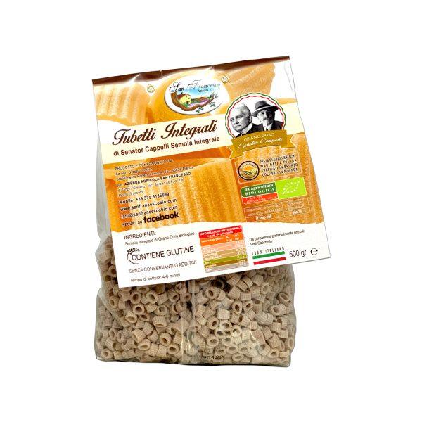 Etichetta retro dei Tubetti Integrali Senator Cappelli, Pasta di Grani Antichi macinati a pietra, trafilati in bronzo, coltivati in azienda.