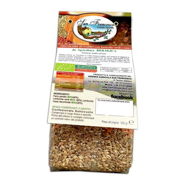 Etichetta retro della Zuppa di FarroBIO Tricolore Confezione da 500 gr - Agricoltura Biologica Azienda San Francesco di Maremma Toscana